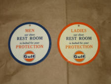 Gulf Men's and Ladies' Room key holders.  [SOLD]
