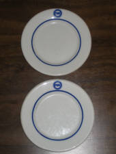 Pure oil bread & butter plates, porcelain, 5 1/2 inches in diameter, manufactured by Jackson Vitrified China, Falls Creek, PA, $135 for the pair.